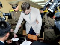 This picture taken by North Korea's official Korean Central News Agency on March 16, 2016 shows the trial of US student Otto Frederick Warmbier, who was arrested for committing hostile acts against North Korea, at the Supreme Court in Pyongyang