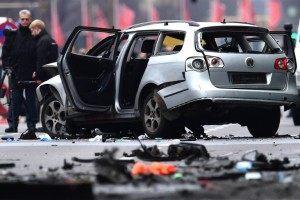 The Volkswagen Passat was driving through Berlin when the explosion struck close to the Deutsche Oper station