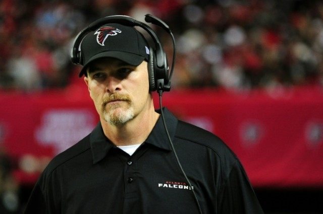 Atlanta Falcons coach Dan Quinn, pictured on November 1, 2015, has apologized to college standout Eli Apple after a member of his staff asked last week during the NFL Scouting Combine if he was gay