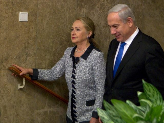 JERUSALEM, ISRAEL - NOVEMBER 20: Israel's Prime Minister Benjamin Netanyahu (R) walks with U.S. Secretary of State Hillary Clinton upon her arrival to their meeting November 20, 2012 in Jerusalem, Israel. The United States signaled today that a Gaza truce could take days to achieve after Hamas, the Palestinian enclave's …