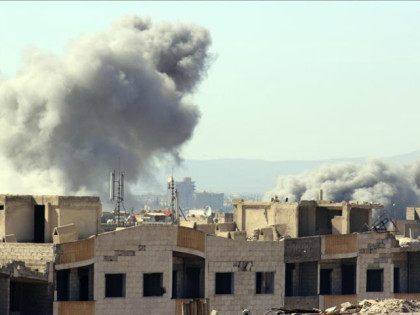 SYRIA, Damascus : DAMASCUS, SYRIA - FEBRUARY 26: Smoke rises after the war crafts belonging to the Syrian army bombed the residential areas in opposition controlled Al-Qabun town of eastern Ghouta in Damascus, Syria on February 26, 2016. Muhammed Khair / Anadolu Agency