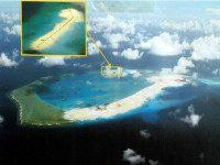 Supplied photo taken April 12, 2015 shows Subi Reef in the South China Sea, where China has continued reclamation work to build an airstrip. China is asserting sovereignty over most of the South China Sea, which is also claimed in whole or in part by Taiwan, Vietnam, Brunei, Malaysia and the Philippines. (Photo by the Philippine military)(Kyodo via AP Images)