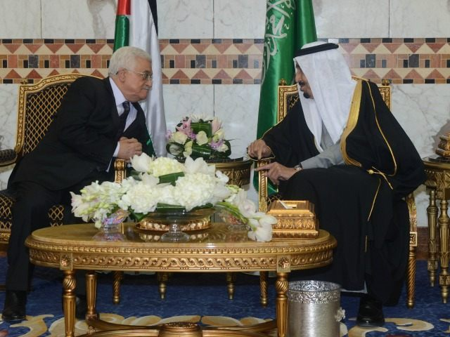 In this handout photo provided by the Palestinian Press Office (PPO), Palestinian President Mahmoud Abbas meets with King Salman bin Abdulaziz Al Saud of Saudi Arabia on February 23, 2015 in Riyadh, Saudi Arabia. Abbas is on an official visit to the Kingdom of Saudi Arabia.