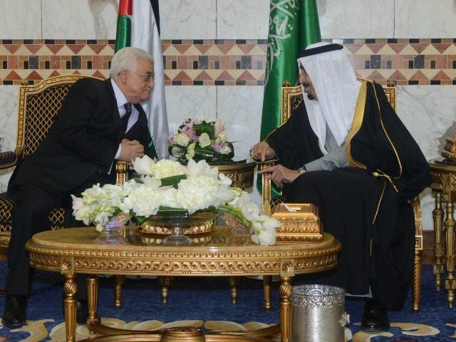 In this handout photo provided by the Palestinian Press Office (PPO), Palestinian President Mahmoud Abbas meets with King Salman bin Abdulaziz Al Saud of Saudi Arabia on February 23, 2015 in Riyadh, Saudi Arabia. Abbas is on an official visit to the Kingdom of Saudi Arabia.