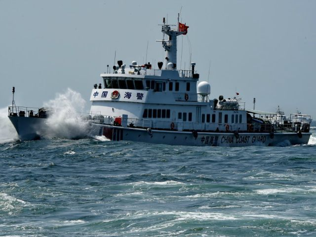 CHINA, XIAMEN : (150909) -- XIAMEN, Sept. 9, 2015 (Xinhua) -- A coast guard vessel attends a drill in Xiamen, southeast China's Fujian Province, Sept. 9, 2015. Nine vessels of Fujian coast guards from Fuzhou, Quanzhou and Zhangzhou took part in the drill on Wednesday. (Xinhua/Zhang Guojun) (lfj)