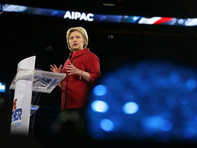 Democratic presidential candidate Hillary Clinton address the annual policy conference of the American Israel Public Affairs Committee (AIPAC) March 21, 2016 in Washington, DC