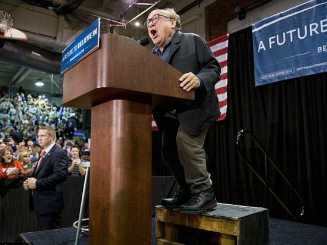 ST. LOUIS, MO - MARCH 13: Actor Danny DeVito introduces Democratic presidential candidate Bernie Sanders at a campaign rally on March 13, 2016 in St Louis, Missouri. Sanders was campaigning ahead of the Missouri primary on March 15. (Photo by Whitney Curtis/Getty Images)