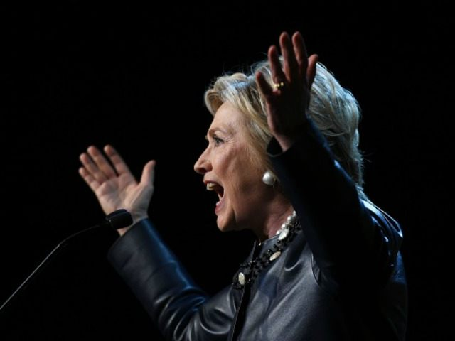 Hillary Clinton speaks during a campaign rally at the Apollo Theatre in New York on March 30, 2016.
