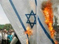 israeli flag burns