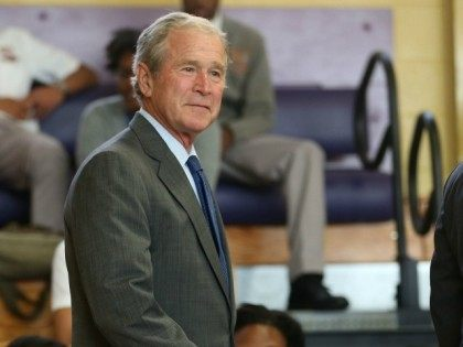 Former President George W. Bush attends an event at Warren Easton High School to mark the 10th anniversary of Hurricane Katrina on August 28, 2015 in New Orleans, Louisiana