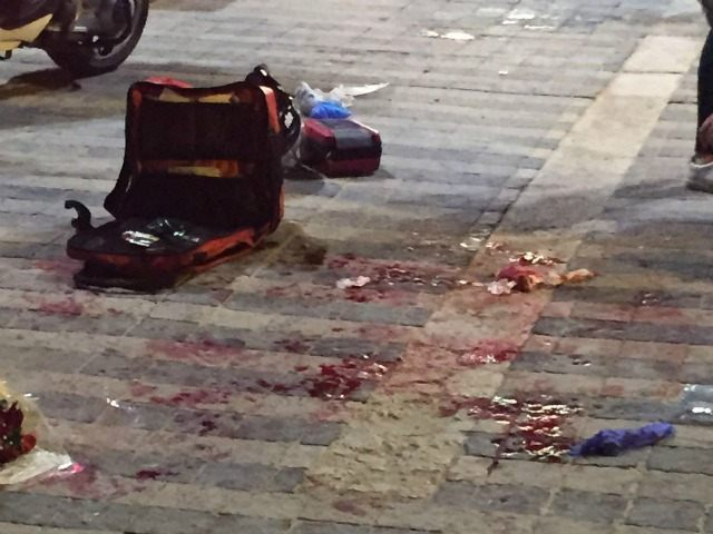 The scene shortly after the terrorist stabbing attack.