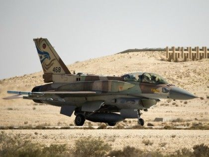 An Israeli F-16I jet is seen after landing during a display for foreign media at the Ramon air force base in the Negev Desert, southern Israel, on October 21, 2013.