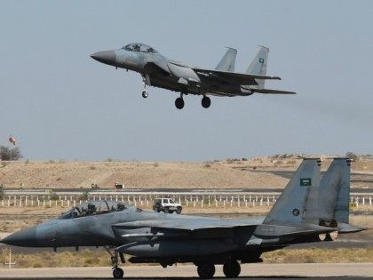 A picture taken on November 16, 2015 shows a Saudi F-15 fighter jet landing at the Khamis Mushayt military airbase, some 880 km from the capital Riyadh, as the Saudi army conducts operations over Yemen.