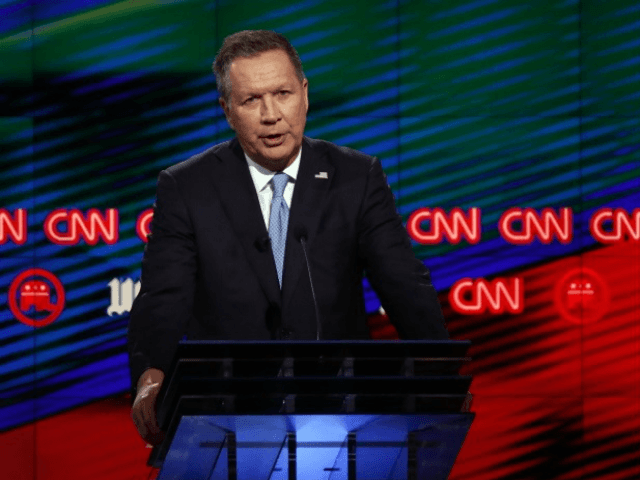 Republican presidential candidate, Ohio Gov. John Kasich, speaks during the Republican presidential debate sponsored by CNN, Salem Media Group and the Washington Times at the University of Miami, Thursday, March 10, 2016, in Coral Gables, Fla. (AP Photo/Wilfredo Lee)