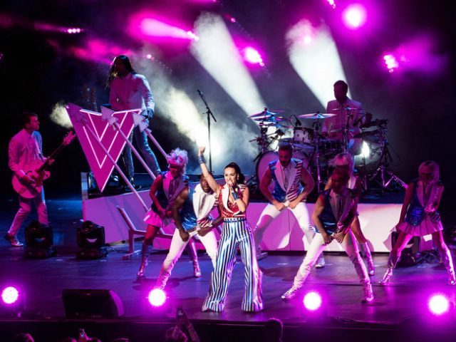 NEW YORK, NY - MARCH 2: Katy Perry performs during a fundraiser for Democratic presidential candidate Hillary Clinton at Radio City Music Hall on March 2, 2016 in New York City. Clinton won seven states in yesterday's Super Tuesday. (Photo by Andrew Renneisen/Getty Images)