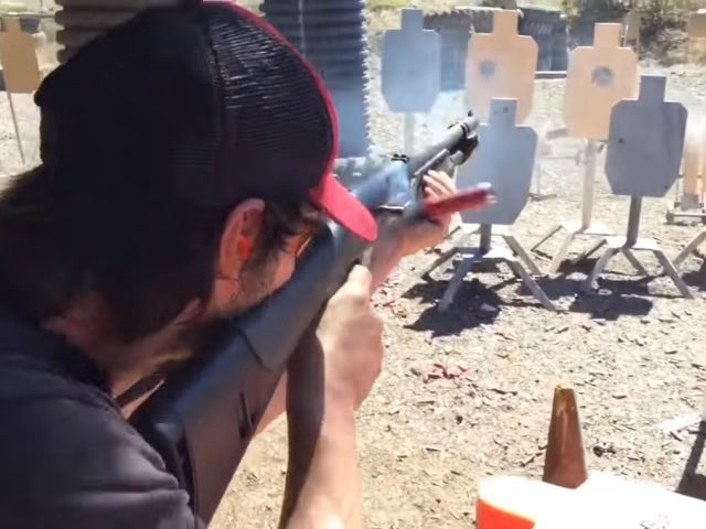 Actor Keanu Reeves Shreds Targets Shooting 3-Gun
