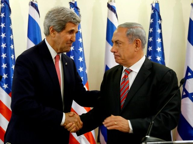 Israeli Prime Minister Benjamin Netanyahu holds a joint press conference with US Secretary Of State John Kerry on December 5, 2013 in Jerusalem, Israel.