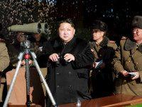"DEMOCRATIC PEOPLE'S REPUBLIC OF KOREA, - : This undated picture released from North Korea's official Korean Central News Agency (KCNA) on January 5, 2015 shows North Korean leader Kim Jong-Un (C) inspecting a firing contest of Korean People's Army artillery units at an undisclosed location in North Korea. An earthquake in North Korea on January 6 was a ""suspected explosion"", Chinese officials said, following fears of another nuclear test by Pyongyang. AFP PHOTO / KCNA via KNS REPUBLIC OF KOREA"
