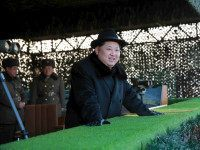 DEMOCRATIC PEOPLE'S REPUBLIC OF KOREA, - : This undated photo released by North Korea's official Korean Central News Agency (KCNA) on February 21, 2016 shows North Korean leader Kim Jong-Un inspecting maneuvers for attack and defence between large combined units of the Korean People's Army (KPA) staged in three directions …