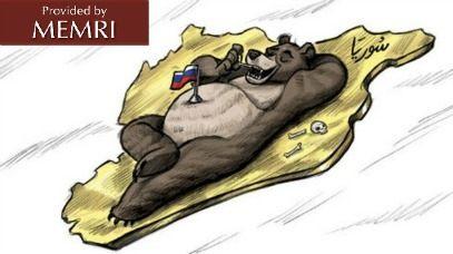 Russian bear picks its teeth with the bones of Syrians (Al-Watan, Saudi Arabia, February 13, 2016)