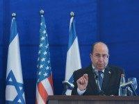 Israeli Defense Minister Moshe Ya'alon speaks during a joint press conference with U.S. Defense Secretary Chuck Hagel after a meeting at The Kirya, the Israeli Defense Force headquarters, on May 15, 2014 in Tel Aviv, Israel.