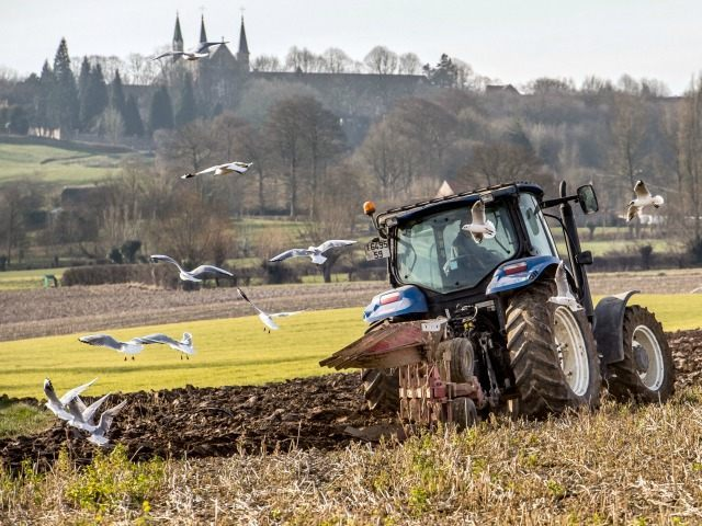 A farmer plows a field with a tractor on March 13, 2015 in Godewaersvelde, northern France.