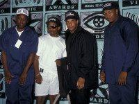 (L-R) M.C. Ren, Eazy-E, guest and Dr. Dre of N.W.A. attend Eighth Annual MTV Video Music Awards on September 5, 1991 at the Universal Ampitheater in Universal City, California. (Photo by Ron Galella, Ltd./WireImage)