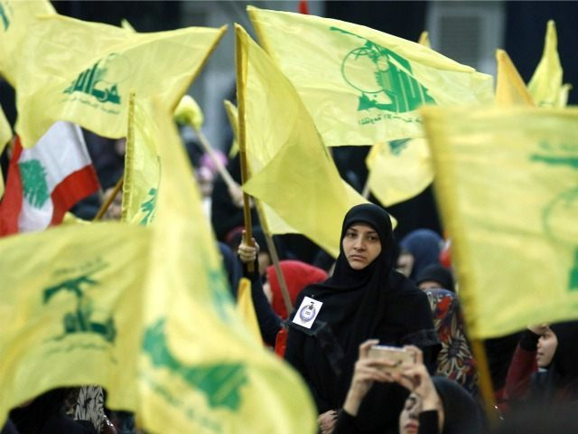 Supporters wave the flag of Lebanon's Shiite movement Hezbollah as they watch the movement's leader Hassan Nasrallah give a televised speech from an undisclosed location during a rally held in the southern suburbs of Beirut on February 16, 2016