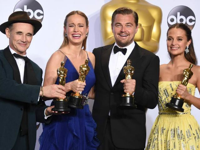 "Mark Rylance, winner of the award for best actor in a supporting role for ""Bridge of Spies,"" from left, Brie Larson, winner of the award for best actress in a leading role for ""Room"", Leonardo DiCaprio, winner of the award for best actor in a leading role for ""The Revenant"", …"