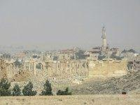 A picture taken on March 25, 2016, shows the ruins of Palmyra during a military operation by Syrian pro-governement forces to retake the ancient city from the jihadist Islamic State (IS) group.