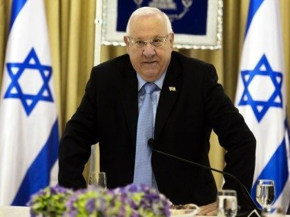 Israeli President Reuven Rivlin arrives for consultations, with representatives of parties elected to parliament (Knesset) last week, at his residence in Jerusalem on March 22, 2015, to hear who they would recommend as prime minister.