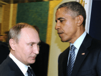 Russian President Vladimir Putin (L) meets with US President Barack Obama on the sidelines of the UN conference on climate change - COP21, on November 30, 2015 at Le Bourget, on the outskirts of the French capital Paris.