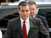 Republican presidential candidate Sen. Ted Cruz (R-TX) arrives to address the bombings in Brussels during remarks March 22, 2016 in Washington, DC.