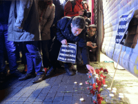 A man lights a candle at the site of a blast on Istiklal Street, a major shopping and tourist district, in central Istanbul on March 19, 2016. A suicide blast ripped through Istanbul, killing three Israelis and one Iranian less than a week after another deadly attack left 35 dead …