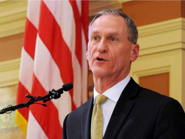 FILE - In this Jan. 12, 2016 file photo, South Dakota Gov. Dennis Daugaard delivers his during his annual state of the state address at the state Capitol in Pierre. Daugaard vetoed a bill Tuesday, March 1, 2016, that would have made it the first state in the U.S. to …