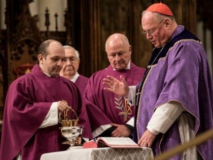 NEW YORK, NY - FEBRUARY 10: Cardinal Timothy Dolan holds mass on Ash Wednesday at St. Patrick's Cathedral on February 10, 2016 in New York City. The day marks the start of the lent for Catholics world wide. (Photo by Andrew Renneisen/Getty Images)