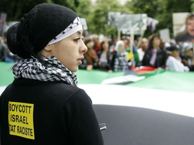 A woman holds a giant palestinian flag during a demonstration in Paris on May 31, 2010 to protest against Israel's deadly raid on an aid flotilla bound for Gaza Strip. The sticker on the woman's back reads: 'boycott Israel, a racist state'.