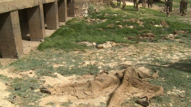This photo taken on March 20, 2015 shows bodies found near the city of Damasak after it was freed from Boko Haram Islamists