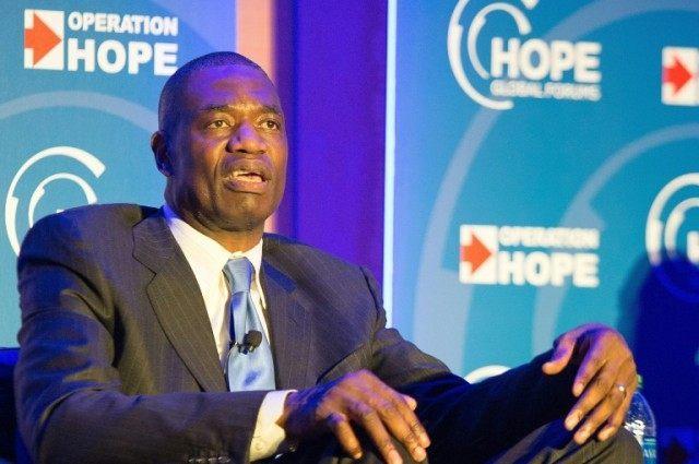 Dikembe Mutombo speaks onstage during the 2016 HOPE Global Forum on January 14, 2016 in Atlanta, Georgia
