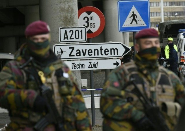 Soldiers control access to Brussels airport on March 29, 2016