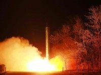 This undated picture released from North Korea's official Korean Central News Agency on March 11, 2016 shows the launch of a ballistic rocket during a mobile drill at an undisclosed location
