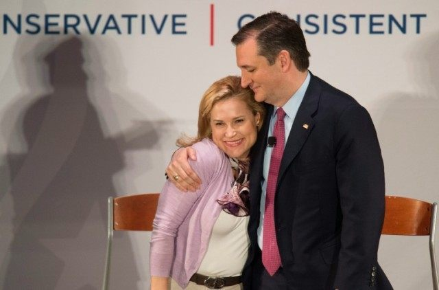 Republican presidential candidate Ted Cruz hugs his wife Heidi during a campaign rally in Charleston, South Carolina on February 19, 2016