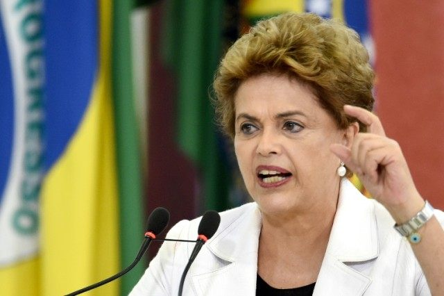 Brazilian President Dilma Rousseff delivers a speech at Planalto Palace in Brasilia on March 30, 2016