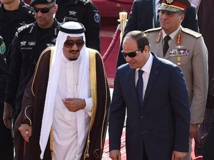 Saudi King Salman bin Abdulaziz (L) welcomes Egyptian President Abdel Fattah al-Sisi (R) at Riyadh international airport on November 10, 2015, as Arab leaders and top officials from South America converged on Saudi Arabia for a summit aiming to strengthen ties between the geographically distant but economically powerful regions. AFP …