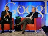 Democratic presidential hopeful Sen. Barack Obama, D-Ill., left, speaks with Google CEO Dr. Eric Schmidt at Google headquarters in Mountain View, Calif., Wednesday, Nov. 14, 2007.