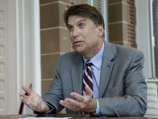 Pat McCrory makes remarks during an interview at the Governor's mansion in Raleigh, N.C., Tuesday, April 12, 2016. McCrory says he wants to change a new state law that prevents people from suing over discrimination in state court, but he's not challenging a measure regarding bathroom access for transgender people.