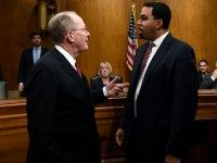 Education Secretary John King, Jr. talks with Senate Health, Education, Labor and Pensions Committee Chairman Sen. Lamar Alexander, R-Tenn., left, on Capitol Hill in Washington, Thursday, Feb. 25, 2016.
