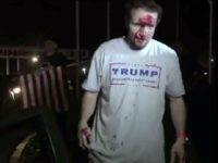 This still image taken from video shows a supporter of Republican presidential candidate Donald Trump after a protest on Thursday, April 28, 2016 in Costa Mesa, Calif.  Dozens of protesters were mostly peaceful Thursday as Trump gave his speech inside the Pacific Amphitheater. After the event, however, the demonstration grew rowdy late in the evening and spilled into the streets.  (APTN via AP Photo)