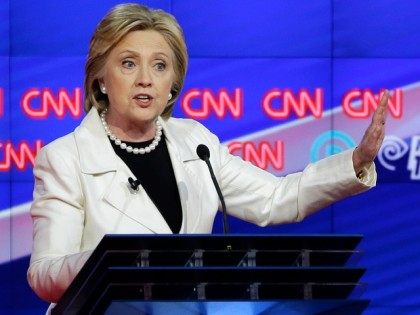 Hillary Clinton speaks during the CNN Democratic Presidential Primary Debate with Sen. Bernie Sanders, I-Vt., at the Brooklyn Navy Yard on Thursday, April 14, 2016 in New York.