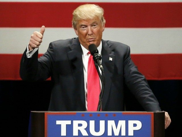 Republican presidential candidate Donald Trump addresses the crowd during a rally at the Milwaukee Theatre Monday, April 4, 2016, in Milwaukee.